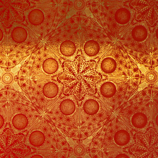Musical Mandala - Fireball on Bright Gold Mylar Wallpaper by Flavor Paper - Vertigo Home