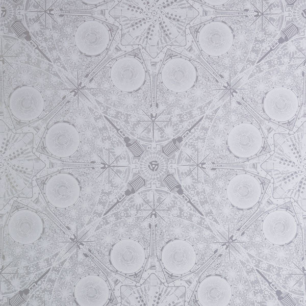 Musical Mandala - Marshmallow on Silver Mylar Wallpaper by Flavor Paper at www.vertigohome.us