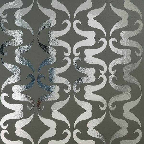 Mustachio - Graphite on Chrome Mylar Wallpaper by Flavor Paper - Vertigo Home