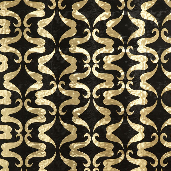 Mustachio - Licorice on Gold Pony Skin Foil Wallpaper by Flavor Paper - Vertigo Home