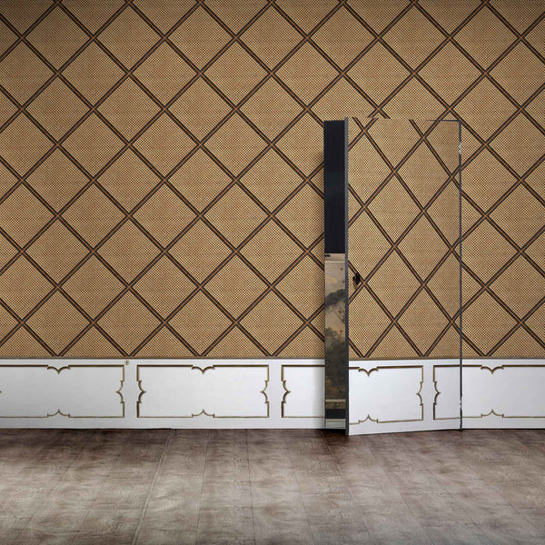 NLXL Wainscoting - Cane Webbing Wallpaper