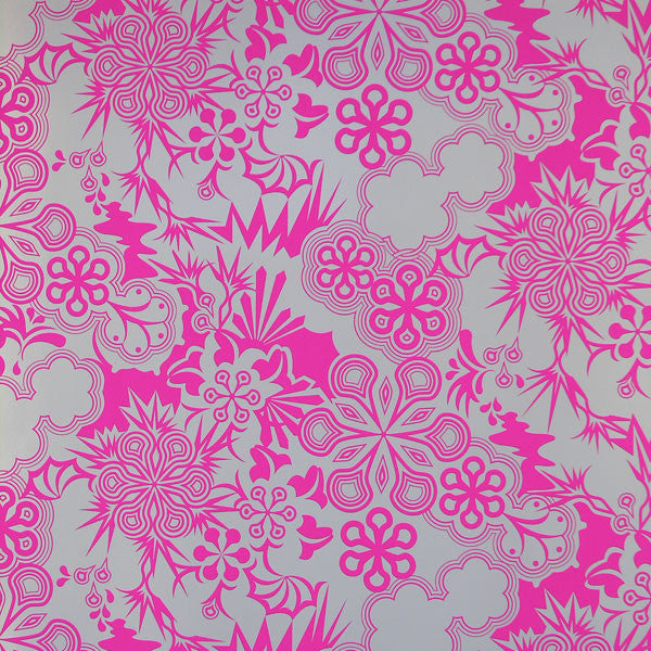 Party Girl - Electric Raspberry on Silver Mylar Wallpaper by Flavor Paper - Vertigo Home