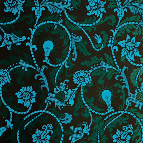 Power Plant - Deep Blue Sea on Ebony Clay Coated Paper Wallpaper by Flavor Paper at www.vertigohome.us