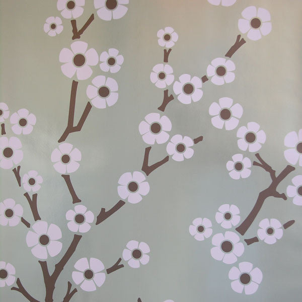 Sakura - Cherry Blossom on Silver Mylar Wallpaper by Flavor Paper at www.vertigohome.us at www.vertigohome.us