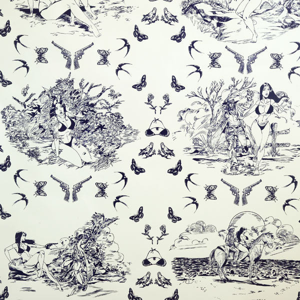 Sassy Toile - Cobalt on Mica Clay Coated Paper Wallpaper by Flavor Paper - Vertigo Home
