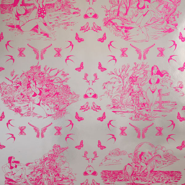 Sassy Toile - Electric Raspberry on Silver Mylar Wallpaper by Flavor Paper at www.vertigohome.us
