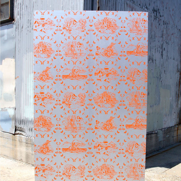 Sassy Toile - Sweet Potato on Silver Pony Skin Foil Wallpaper by Flavor Paper at www.vertigohome.us