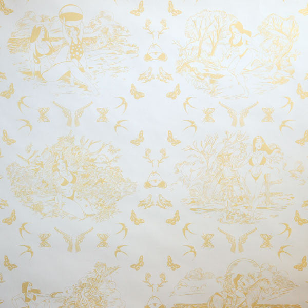 Sassy Toile - Pearl Gold on Ivory Clay Coated Paper Wallpaper by Flavor Paper - Vertigo Home