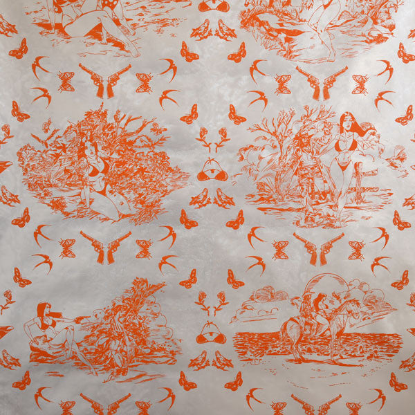 Sassy Toile - Sweet Potato on Silver Pony Skin Foil Wallpaper by Flavor Paper - Vertigo Home
