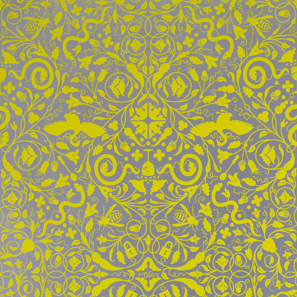 Secret Garden - Lemon on Silver Mylar Wallpaper by Flavor Paper at www.vertigohome.us