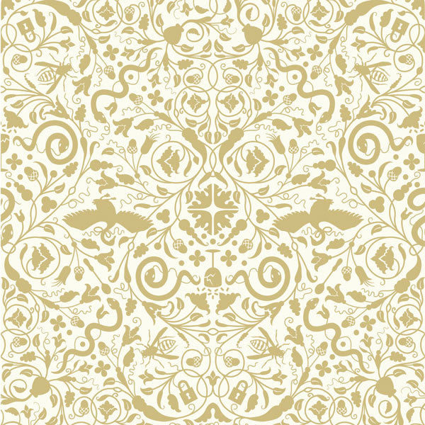 Secret Garden - Pearl Gold on Linen Clay Coated Paper Wallpaper by Flavor Paper - Vertigo Home