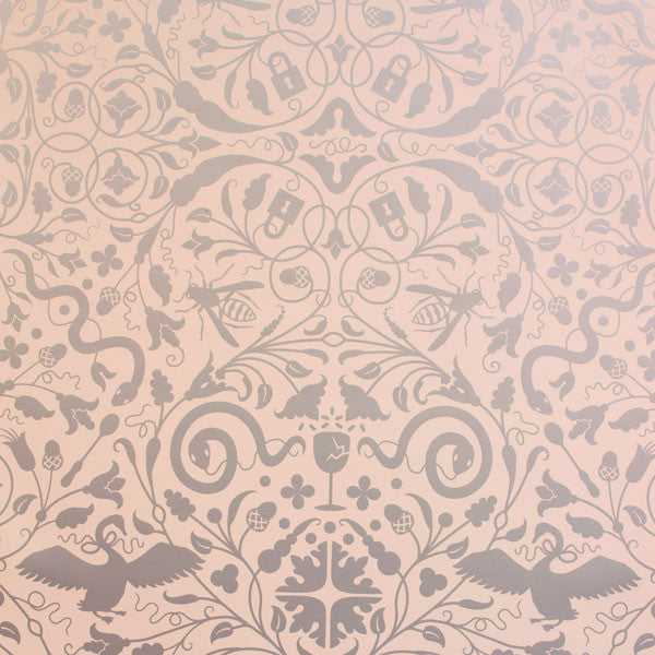 Secret Garden - Silver on Blush Clay Coated Paper Wallpaper by Flavor Paper at www.vertigohome.us