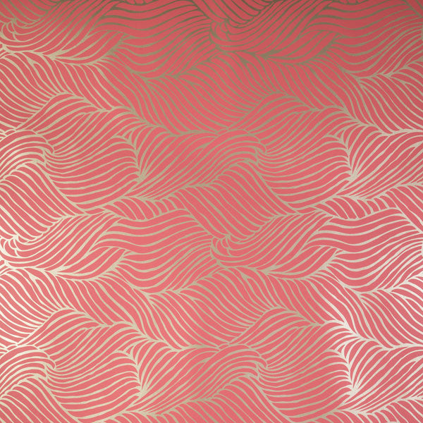 Sheba - Pink Coral on Champagne Mylar Wallpaper by Flavor Paper - Vertigo Home