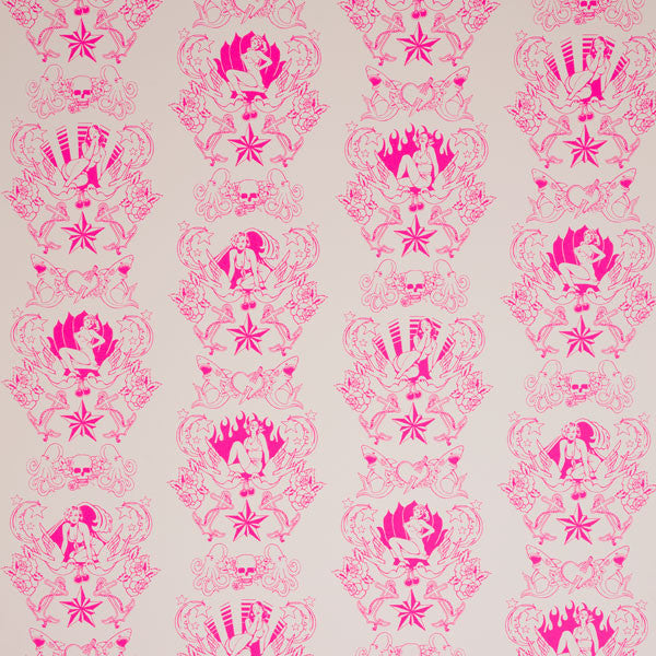 Shore Leave - Electric Raspberry on Blush Clay Coated Paper Wallpaper by Flavor Paper - Vertigo Home