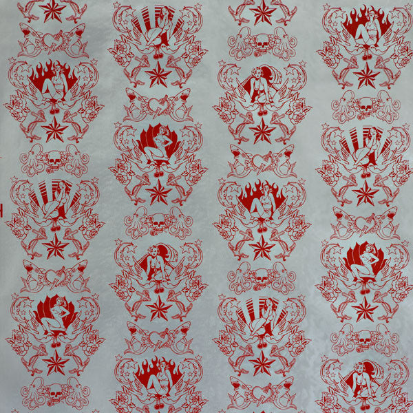 Shore Leave - Fire Red on Silver Pony Skin Foil Wallpaper by Flavor Paper - Vertigo Home