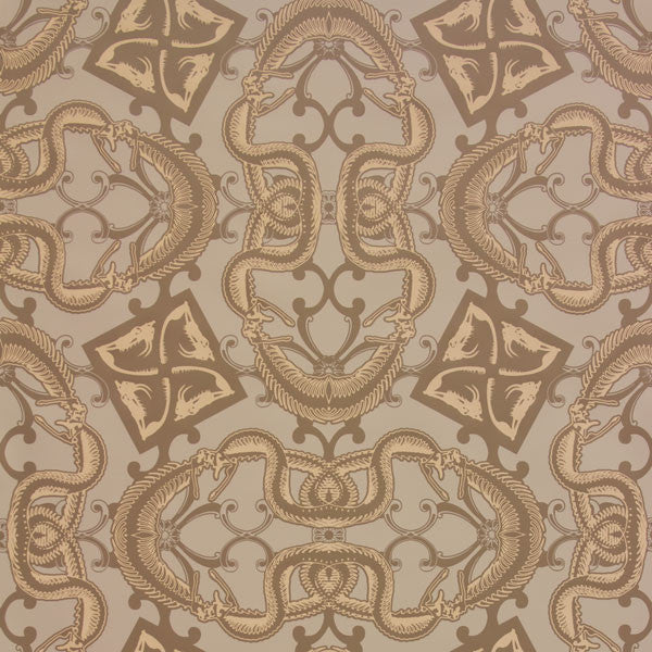 Snake Bit - Mojave on Oatmeal Clay Coated Paper Wallpaper by Flavor Paper at www.vertigohome.us