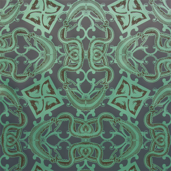 Snake Bit - Serpent on Ebony Clay Coated Paper Wallpaper by Flavor Paper - Vertigo Home