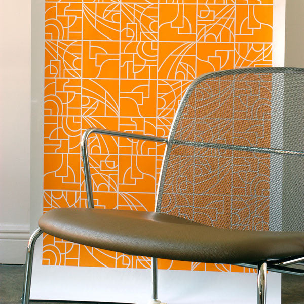 Stanley - Pumpkin on White Mylar Wallpaper by Flavor Paper at www.vertigohome.us