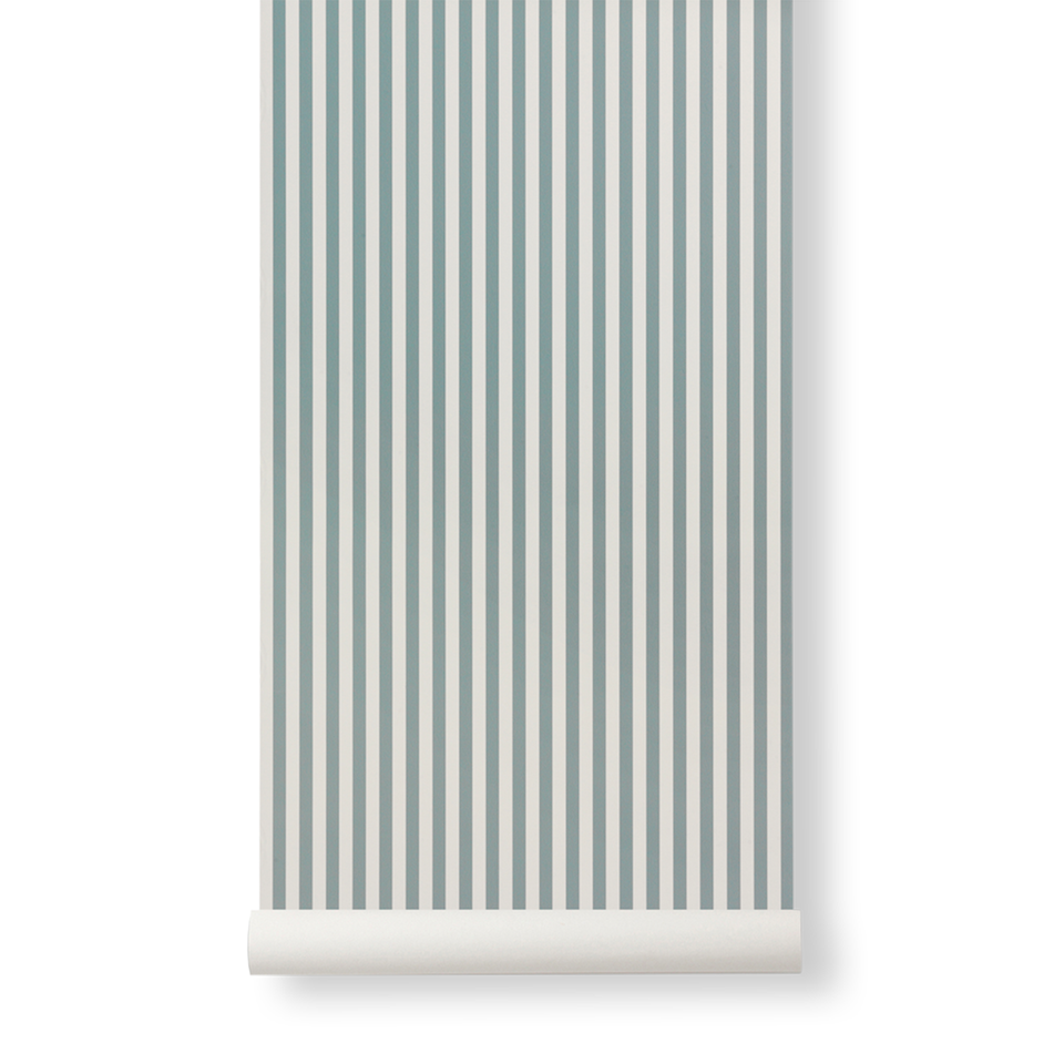 Thin Lines Wallpaper - Dusty Blue / Off White by Ferm Living