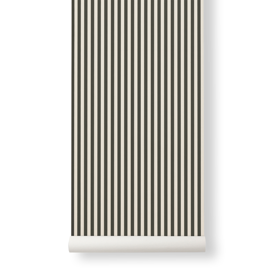 Thin Lines Wallpaper - Green / Off White by Ferm Living