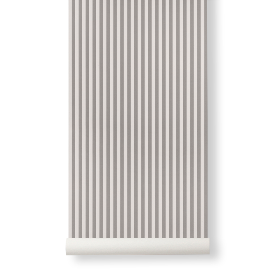 Thin Lines Wallpaper - Grey / Off White by Ferm Living