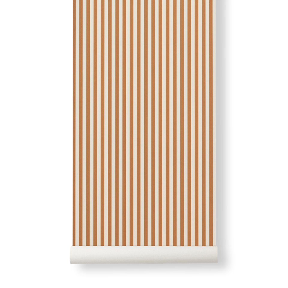 Thin Lines Wallpaper - Mustard / Off White by Ferm Living