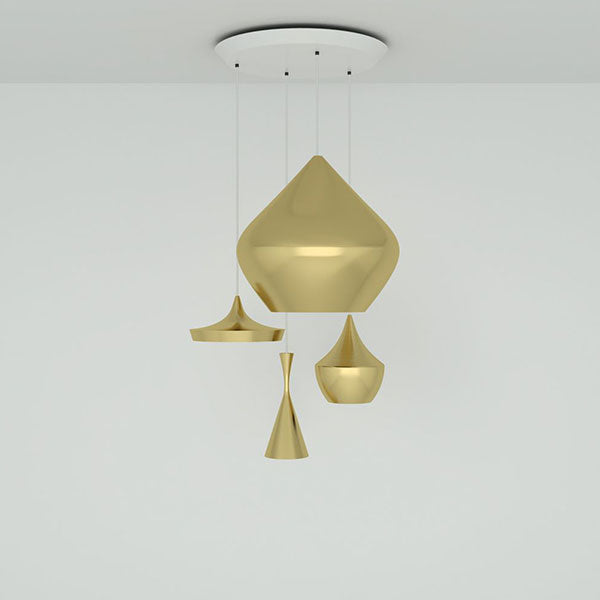 Beat Brushed Brass Range Round Pendant System by Tom Dixon