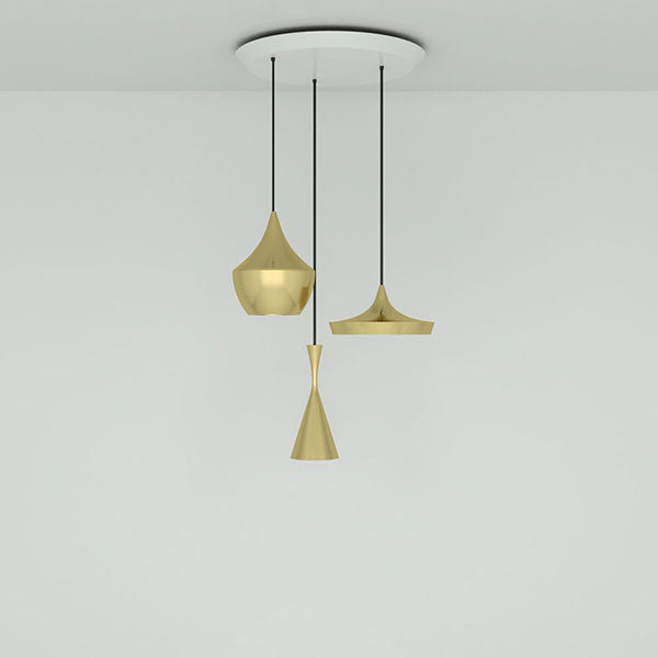 Beat Brushed Brass Trio Round Pendant System by Tom Dixon