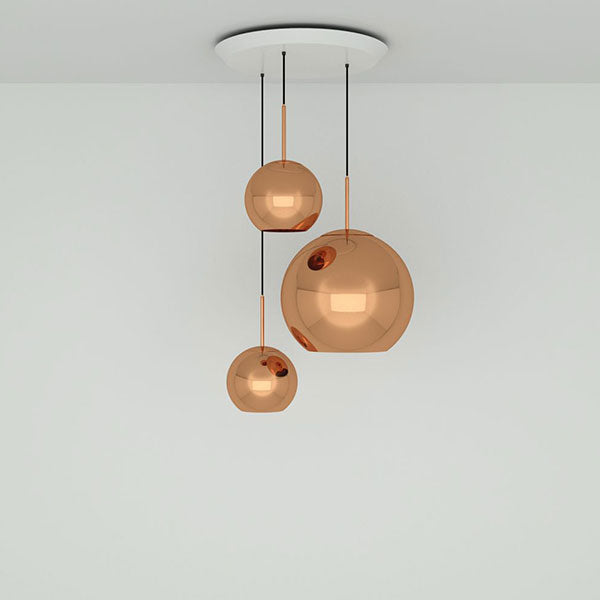 Copper Trio Range Round Pendant System by Tom Dixon