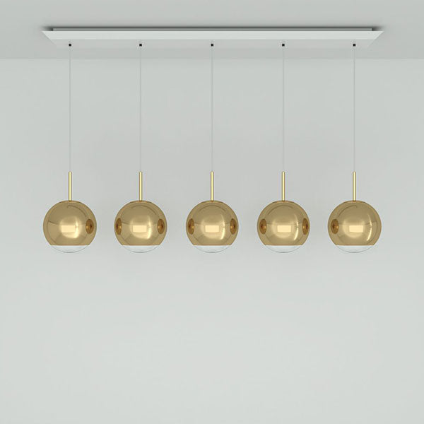 Mirror Ball Gold 25cm Linear Pendant System by Tom Dixon