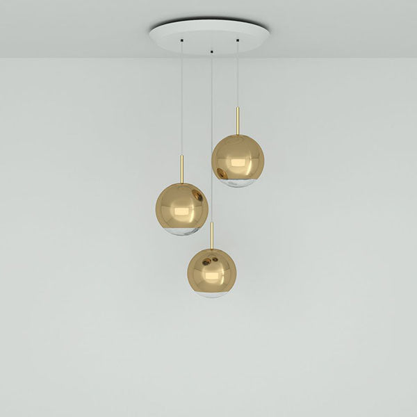 Mirror Ball Gold 40cm Round Pendant System by Tom Dixon