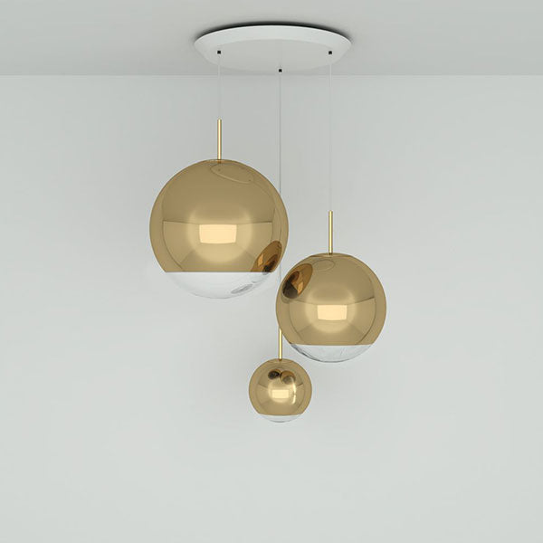 Mirror Ball Gold Range Round Pendant System by Tom Dixon