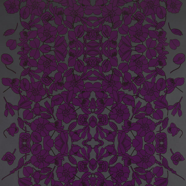 Verdant Vine - Deep Beet on Ebony Clay Coated Paper Wallpaper by Flavor Paper - Vertigo Home