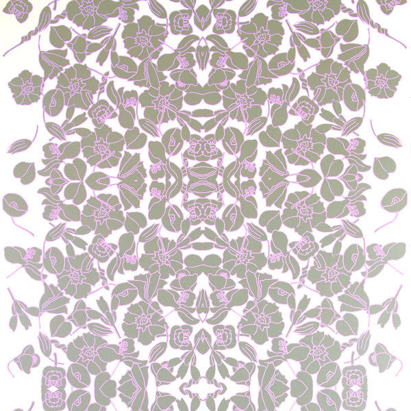 Verdant Vine - Lavender Frost on White Mylar Wallpaper by Flavor Paper - Vertigo Home