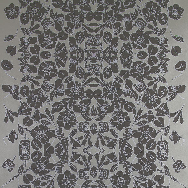 Verdant Vine - Silver Shadow on Platinum Clay Coated Paper Wallpaper by Flavor Paper - Vertigo Home