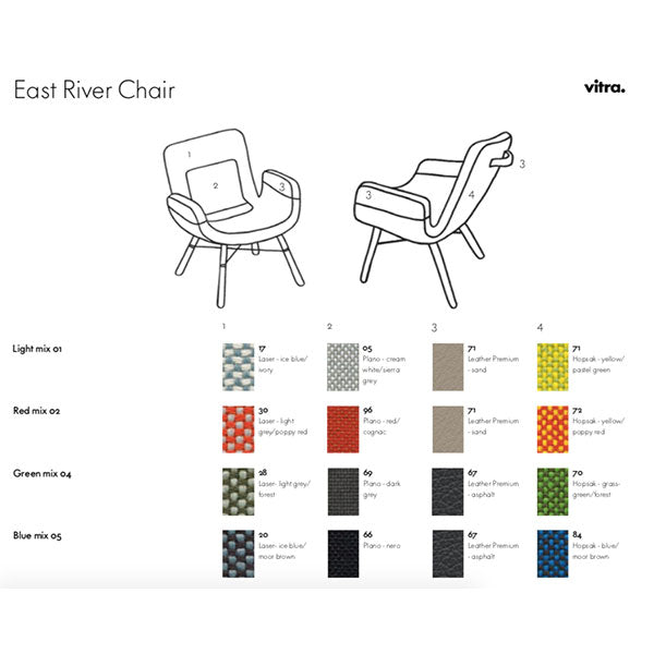 East River Chair Blue Mix 05 by Vitra + Hella Jongerius