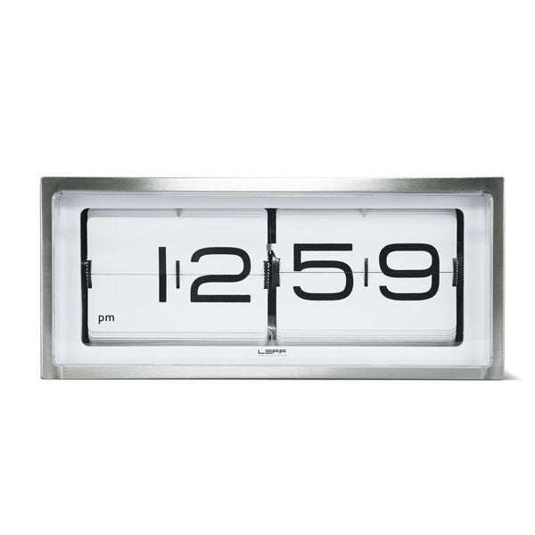 Stainless Steel - White 24hr Brick Wall / Desk Clock by Leff Amsterdam