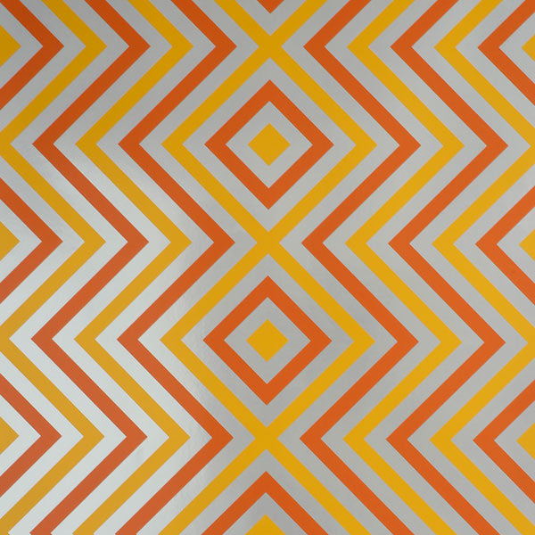 Ziggy Diamond - Tangerine on Silver Mylar Wallpaper by Flavor Paper - Vertigo Home