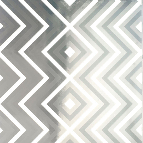 Ziggy Diamond - White Magic on Silver Mylar Wallpaper by Flavor Paper - Vertigo Home