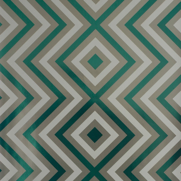 Ziggy Diamond - Wintergreen on Silver Mylar Wallpaper by Flavor Paper - Vertigo Home