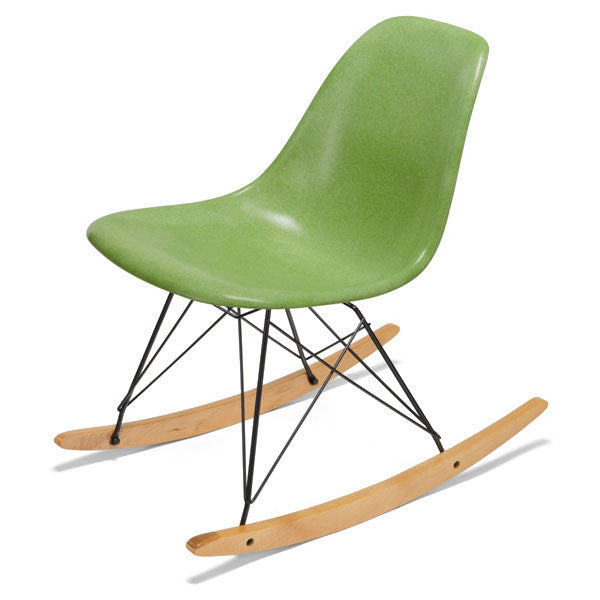 Side Shell Rocker w/ Maple + Black Wire Dowel Base by Modernica