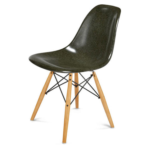 Side Shell Chair W/ Maple + Black Wire Dowel Base By Modernica