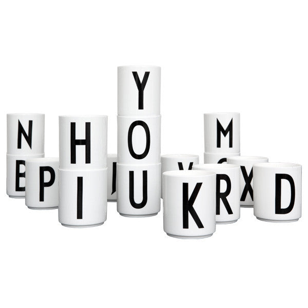 'E' Design Letters Bone China Cup - Vertigo Home