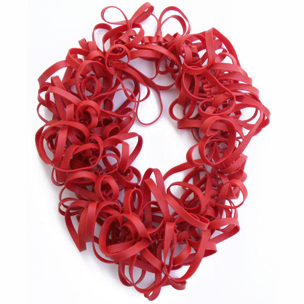 Barbara de Jounge Red Rubber Band Necklace