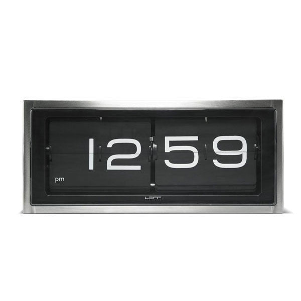 Stainless Steel - Black 24hr Brick Wall / Desk Clock by Leff Amsterdam - Vertigo Home