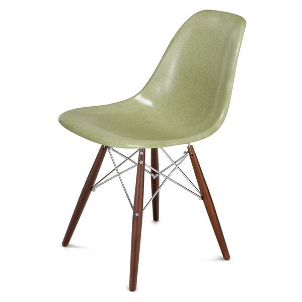 Side Shell Chair w/ Walnut + Chrome Wire Dowel Base by Modernica