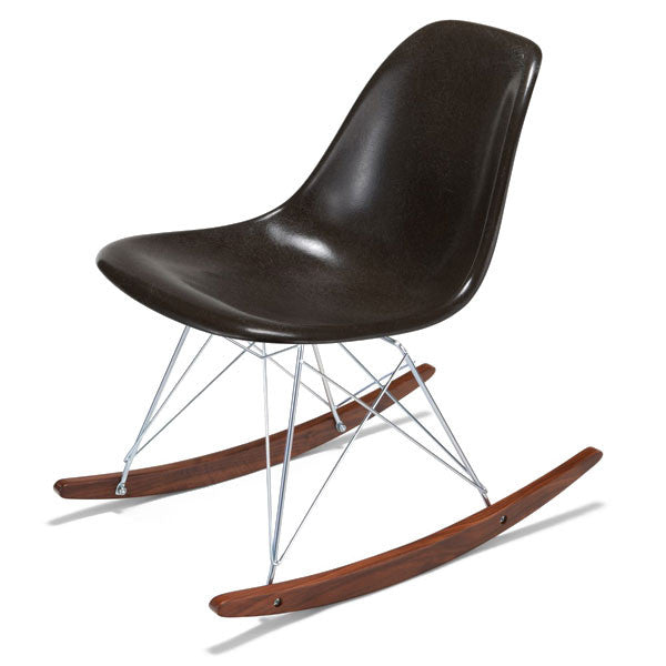 Side Shell Rocker w/ Walnut + Zinc Wire Dowel Base by Modernica