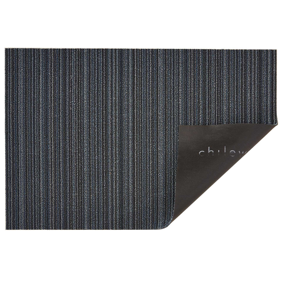 Blue Skinny Stripe Shag Mat by Chilewich