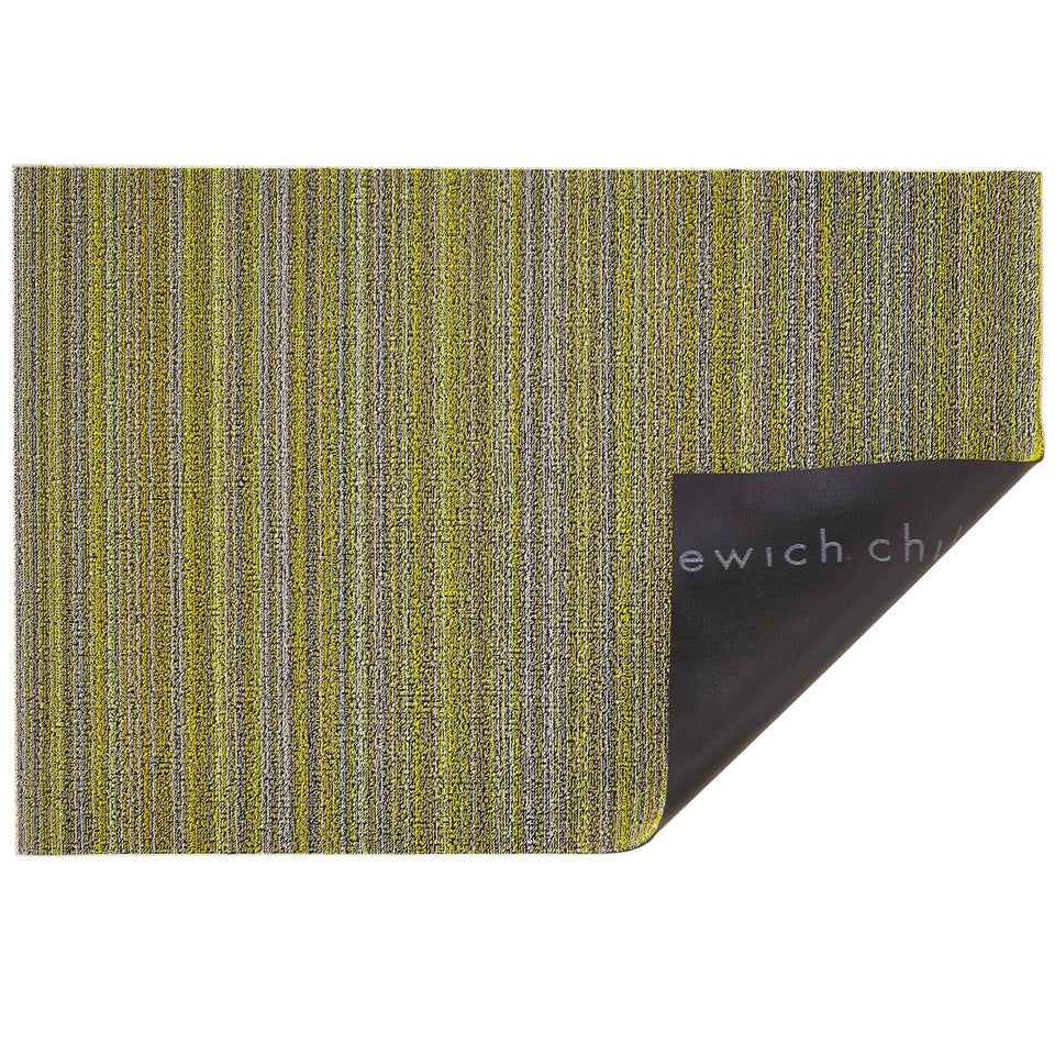Citron Skinny Stripe Shag Mat by Chilewich