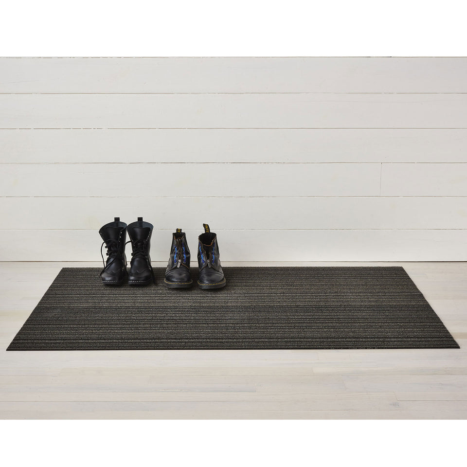 Steel Skinny Stripe Shag Mat by Chilewich